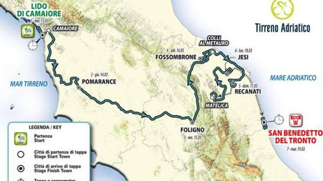 Tirreno Adriatico 2019, il percorso