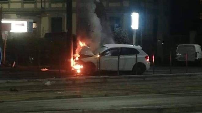 Incidente in piazza Muratori (foto Facebook 'Osservatorio lavori Tramvia Firenze')
