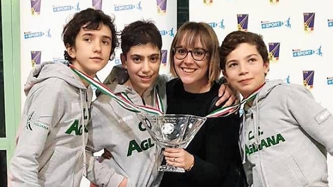 Da sinistra Coppi, Palmerini, Mabel Biagiotti e Martini