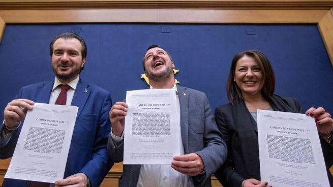 Da sinistra: Riccardo Molinari, Matteo Salvini, Barbara Saltamartini