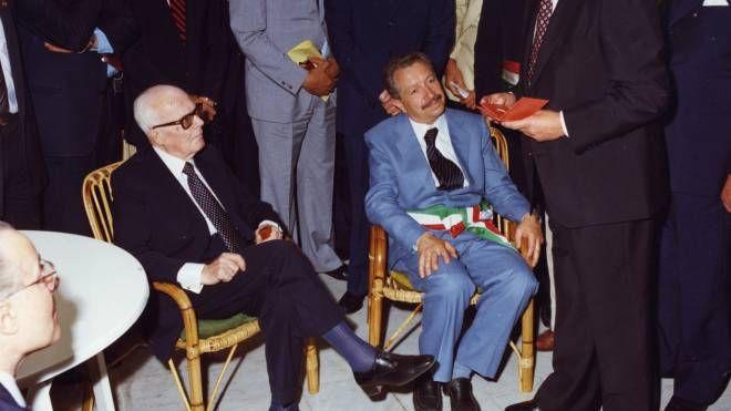 Aldo Giacché con l'allora presidente della Repubblica Sandro Pertini