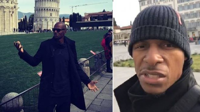 Ray Allen: a sinistra in piazza dei Miracoli a Pisa, a destra a Firenze
