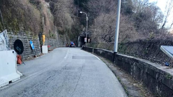 La Sp 72 chiusa a Bellano