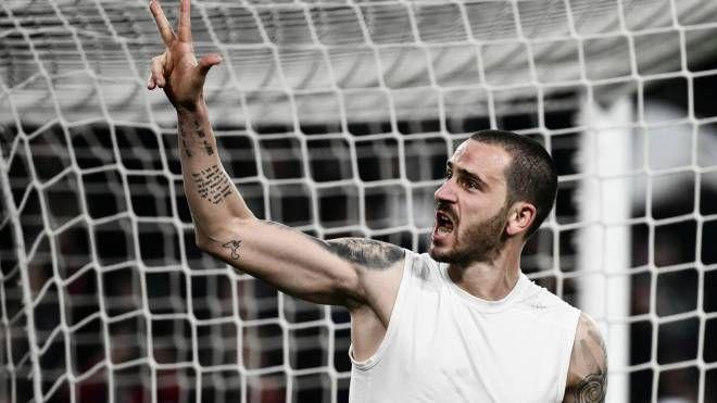 La gioia di Leonardo Bonucci al fischio finale di Juve-Atletico