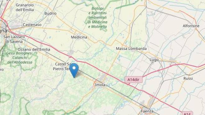 Terremoto a Dozza Imolese di magnitudo 3 (Foto Ingv, Openstreetmap)