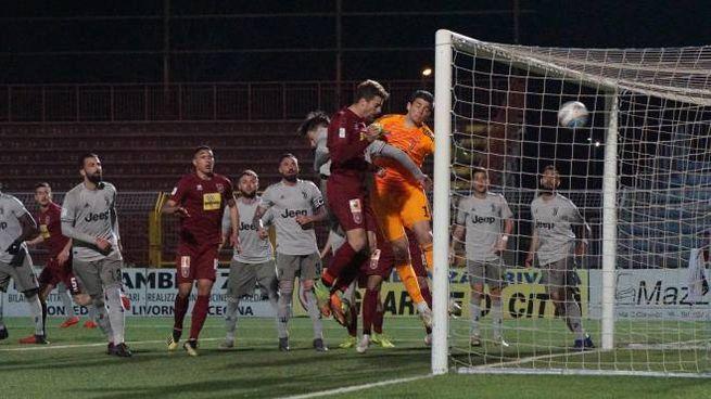 Pontedera-Juventus Under 23, il gol (foto Sarah Esposito/Germogli)