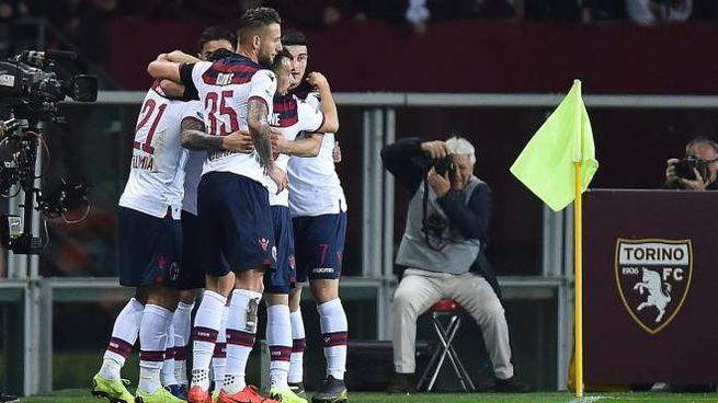 Torino-Bologna, esultanza rossoblù dopo il gol di Poli (Ansa)