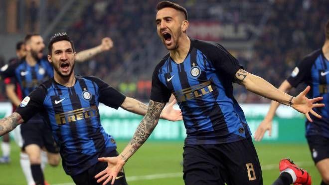 Milan-Inter, l'esultanza di Vecino (Ansa)