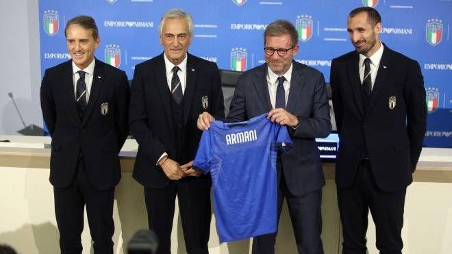Armani veste la Nazionale italiana. Conferenza stampa a Coverciano (Lapresse)