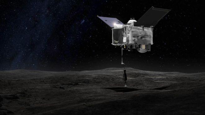 Osiris Rex sull'asteroide Bennu (screen Nasa Twitter)