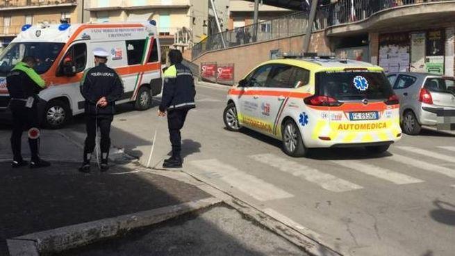 L'incidente a Montegranaro (foto Zeppilli)