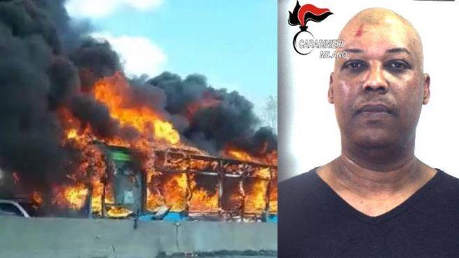 Il bus dato alle fiamme e il dirottatore Ousseynou Sy (Ansa)