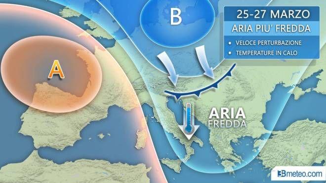 Meteo, l'affondo artico nel grafico di 3bmeteo.com