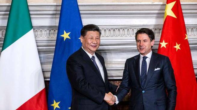 Xi Jinping e Giuseppe Conte (foto Imagoeconomica)