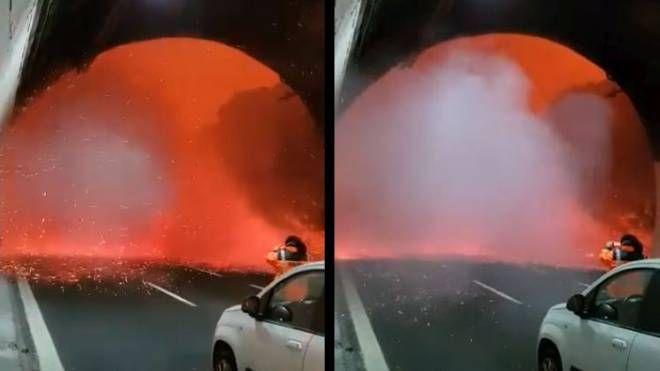 Incendio Autostrada A10 (screen video Facebook)
