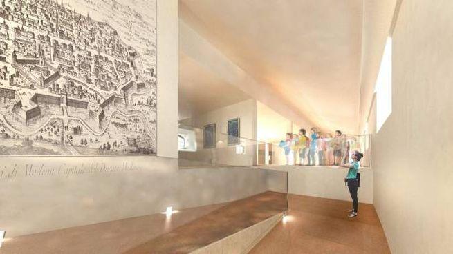 Uno dei rendering che mostra il futuro dell'ex ospedale Estense