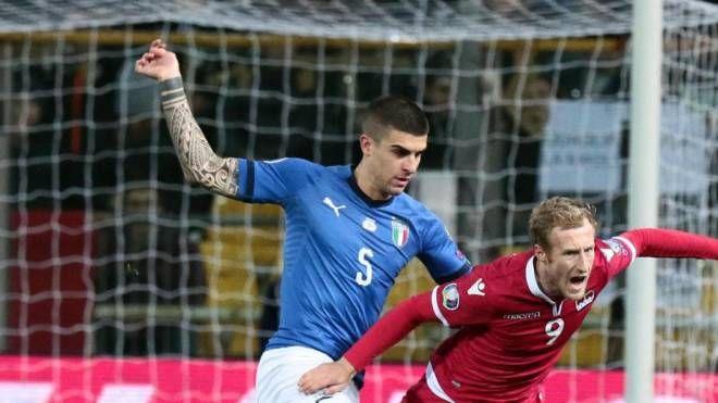 Mancini in azione con l'Italia