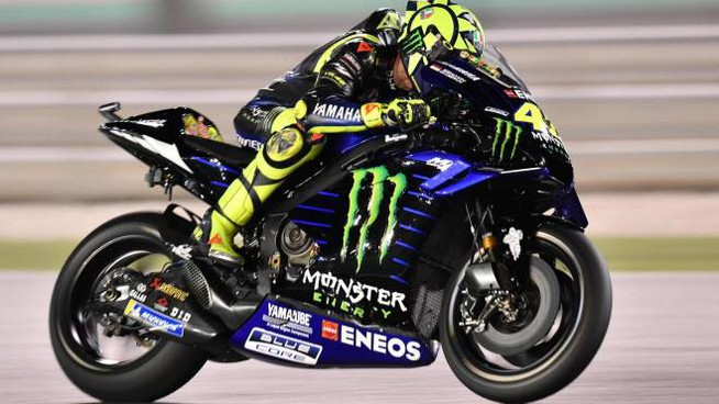 Motogp 2019, Valentino Rossi in azione (Ansa)