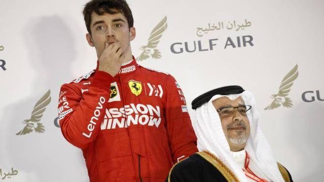Charles Leclerc sul podio del Gp del Bahrain 2019 (Ansa)