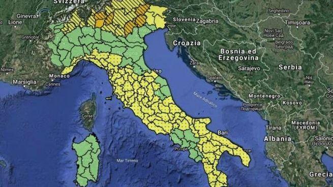 Allerta meteo sull'Italia, la mappa della Protezione civile (Twitter)