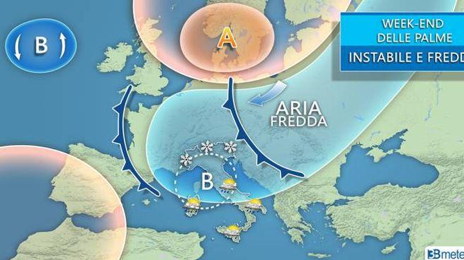 Previsioni meteo per il weeekend delle Palme, grafico di 3bmeteo