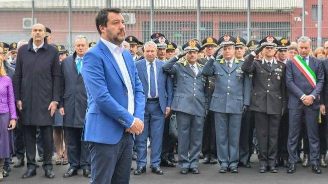 Salvini all'inaugurazione della nuova Questura di Monza (Lapresse)
