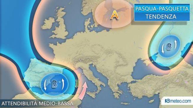 La tendenza meteo per Pasqua e Pasquetta, il grafico di 3bmeteo.com