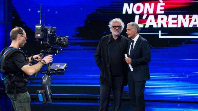 Flavio Briatore con Massimo Giletti a 'Non è l'Arena' (foto Imagoeconomica)