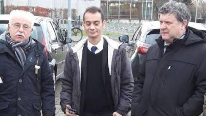 Il borgomastro di Steinhagen Klaus Besser, il vicesindaco Giovanni Polleschi e il sindaco Paolo Grassi
