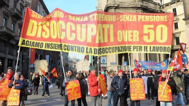 Una manifestazione di disoccupati