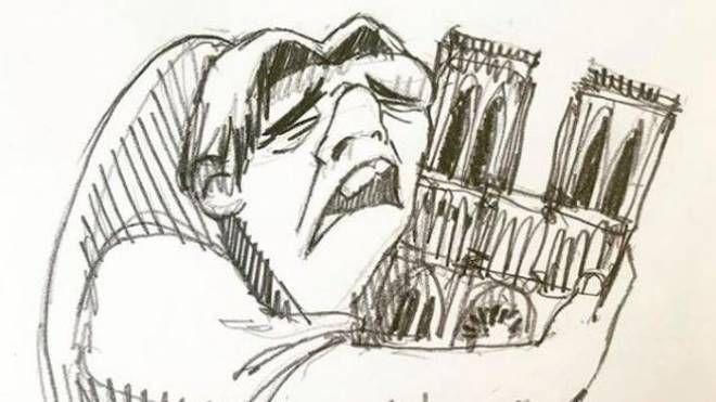 Incendio Notre Dame, la vignetta dell'artista Cristina Correa Freile