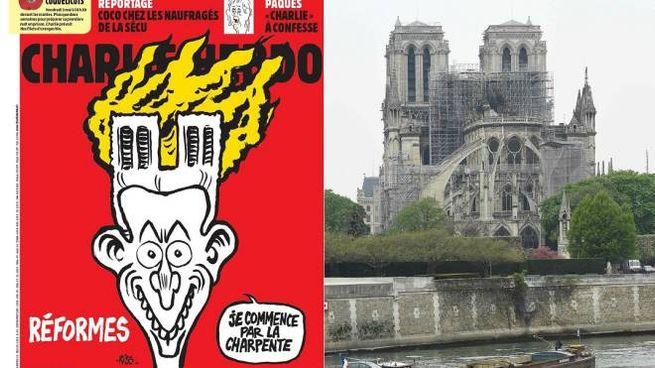 La copertina di Charlie Hebdo e Notre Dame (Ansa)