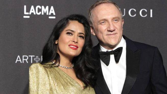 Francois-Henri Pinault con la moglie Salma Hayek (Ansa)