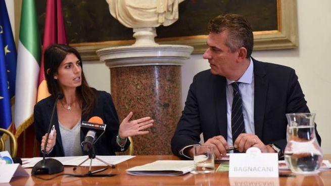 Virginia Raggi e Lorenzo Bagnacani (ImagoEconomica)
