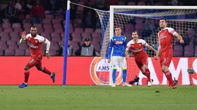 Napoli-Arsenal, il gol di Alexandre Lacazette (Lapresse)