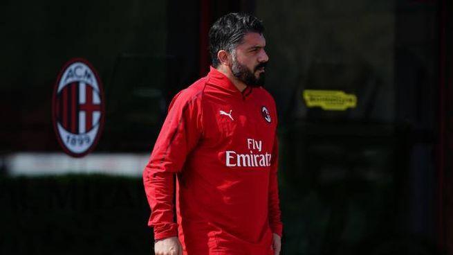 Gattuso a Milanello durante l'allenamento