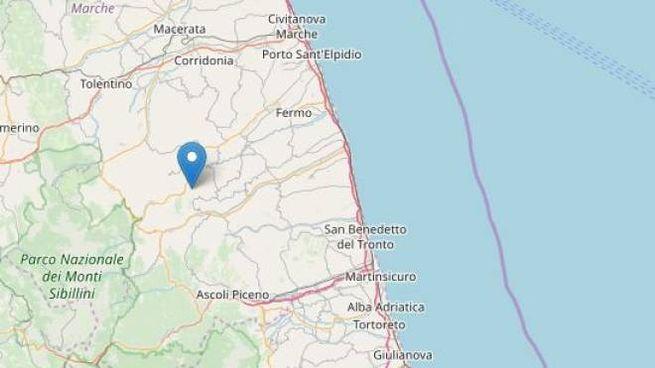 Terremoto a Santa Vittoria in Matenano (Fermo) foto Ingv / Openstreetmap