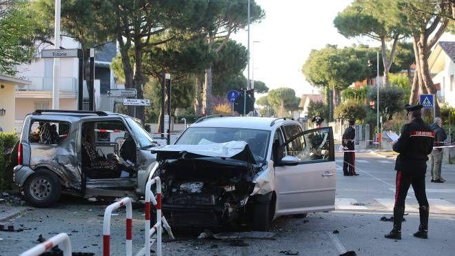 La scena dell'incidente a Pinarella