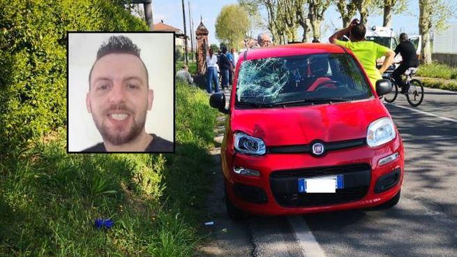 Il luogo dell'incidente e, nel riquadro, la vittima Nicola Lamini