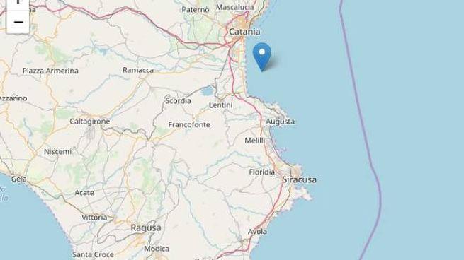 Terremoto al largo di Catania, la cartina di Ingv