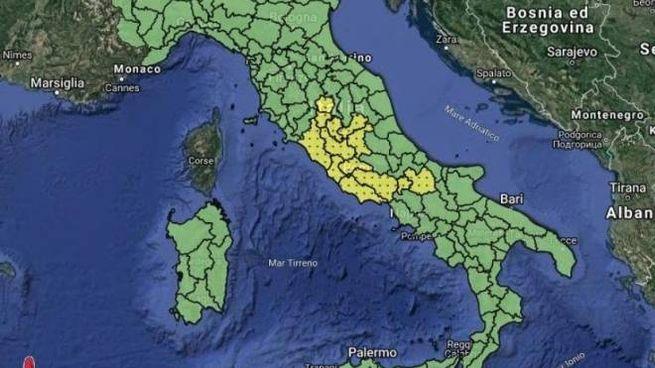 Allerta meteo gialla per temporali, la mappa della Protezione civile (Twitter)