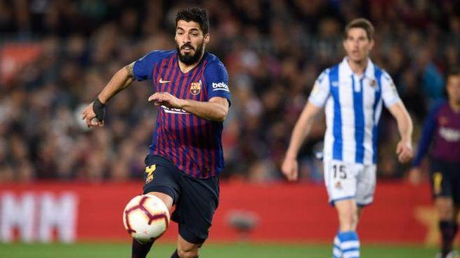 Suarez durante Barcellona-Huesca