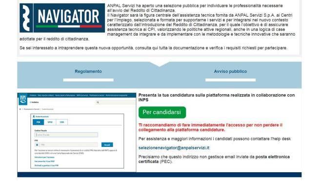 Navigator, il sito dell'Anpal e la pagina per candidarsi