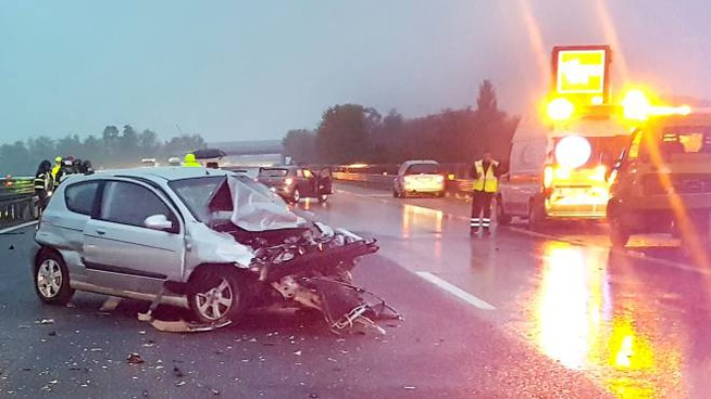 Il tragico incidente sull'A7 all'altezza di Binasco (Mdf)