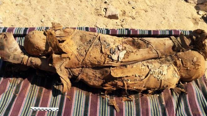Due delle mummie ritrovate, probabilmente madre e figlio (Ansa)