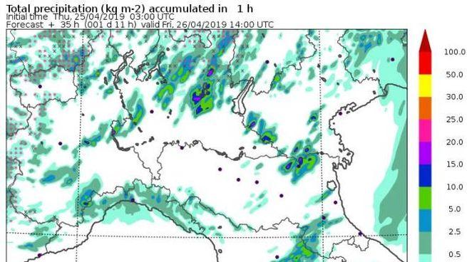 Uan mappa delle precipitazioni attese domani (Modello Moloch, Cnr-Isac)