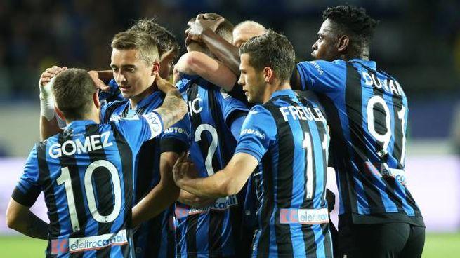La gioia dei giocatori dell'Atalanta (Newpress)