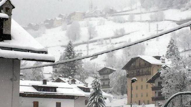 Neve sulle Dolomiti bellunesi: effetto natalizio a maggio (Ansa)