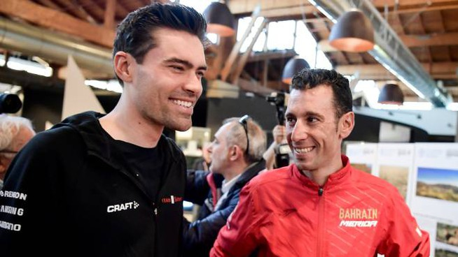 Tom Dumoulin e Vincenzo Nibali (LaPresse)
