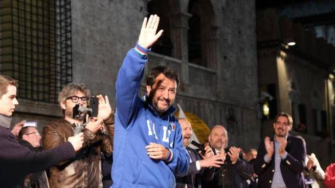 Matteo Salvini ad Ascoli Piceno (Foto Labolognese)